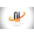 qi q i letter logo with fire flames design and vector image vector image