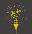radio banner with a microphone and inscription vector image