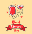 red backgroud blood donor day style vector image vector image