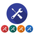 round icon of screwdriver with spanner flat style vector image