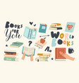 set icons readers hobby reading book textbook vector image