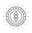silhouette front view coin with dollar symbol vector image
