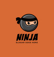 simple minimalist ninja head mascot cartoon logo vector image vector image