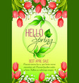 spring holiday sale tulip flowers poster vector image vector image