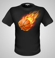 t shirts Black Fire Print man 23 vector image
