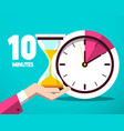 ten 10 minutes counter clock and hourglass flat vector image