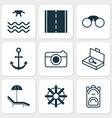 tourism icons set collection of rucksack vector image vector image