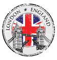 Tower Bridge grunge stamp with flag London hand vector image vector image
