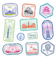 vintage travel stamps with major monuments and vector image vector image
