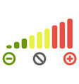 volume level bars scale icon green to red colours vector image