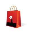 paper bag with love icon color vector image