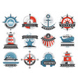 nautical templates set marine labels sea badges vector image