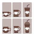 set of cute coffee cup vector image
