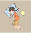 a girl in lay position and reading a book cartoon vector image
