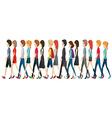 A group of faceless people walking in line vector image vector image