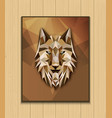 abstract polygonal wolf head design on brown backg vector image