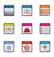 almanac icons set flat style vector image