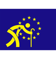 An aging Europe European Union flag vector image vector image