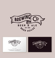 brewing logo pub emblem ribbon letters craft beer vector image vector image