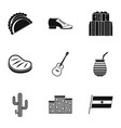 buenos aires travel icons set simple style vector image vector image