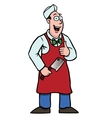 butcher with a cleaver and his thumbs up vector image vector image