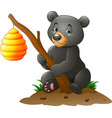 cartoon bear holding branch with bee hive vector image