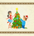 christmas holiday pine tree decoration of family vector image vector image