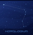 constellation horologium clock night star sky vector image vector image