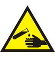 corrosive warning sign warning acid sign vector image vector image