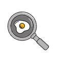 delicious fried egg inside skillet pan vector image