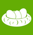 eggs in the nest icon green vector image vector image