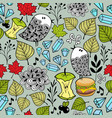endless wallpaper with birds food and floral vector image vector image