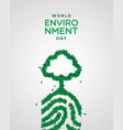 environment day card green leaf finger print vector image vector image