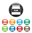 glue jar icons set color vector image vector image
