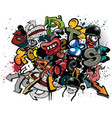 graffiti elements explosion vector image vector image