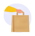 hand with paper bag safe and clean food delivery vector image
