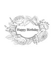 happy birthday card greeting card with rose and vector image vector image