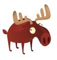 happy cartoon moose character vector image vector image