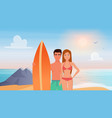 happy surfers couple people surf on tropical beach vector image