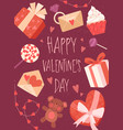 happy valentines day card design with gifts vector image vector image