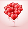 heart shaped balloons realistic red 3d balloons vector image vector image