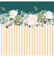 Horizontal striped pattern with white roses leave