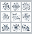 icon set fireworks explosion silhouettes vector image