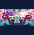 jet cockpit empty airplane cabin interior design vector image