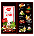 korean cuisine menu dishes and desserts vector image vector image