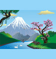 landscape - sakura on the river bank mount fuji vector image
