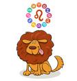 leo zodiac sign with cartoon dog vector image vector image
