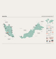 map malaysia country map with division cities vector image
