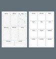 notebook pages template daily and month vector image