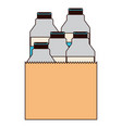 paper bag with milk bottles in colorful silhouette vector image